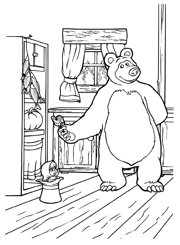 Masha And The Bear, Masha And The Bear Bring Masha Delicious Candy Coloring Pages: Masha and the Bear Bring Masha Delicious Candy Coloring Pages