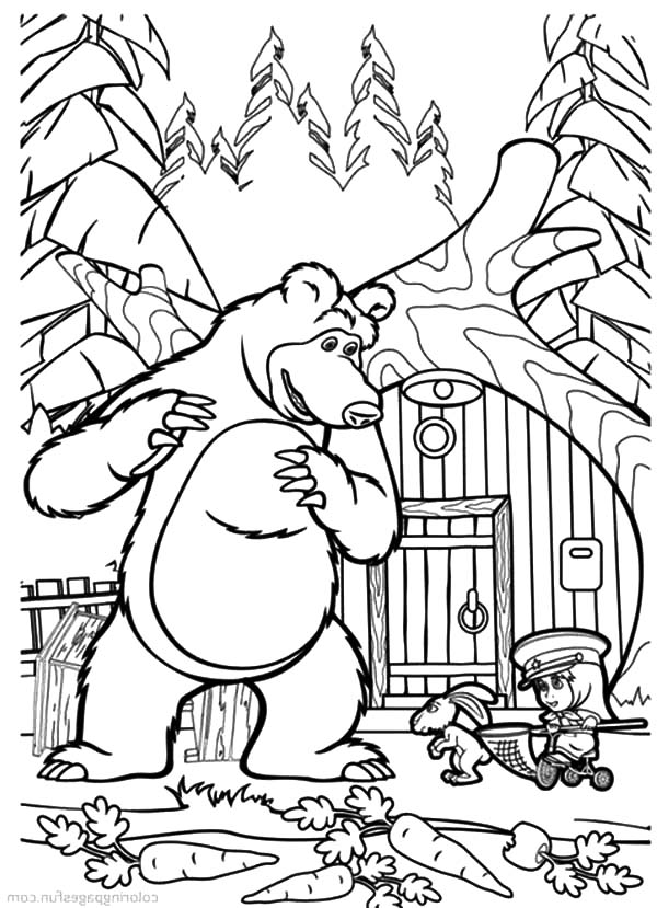 Masha And The Bear, : Masha and the Bear Catching Carrot Thief Coloring Pages