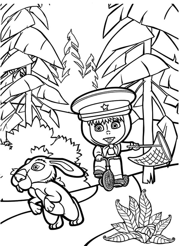 Masha And The Bear, Masha And The Bear Chasing Rabbit Coloring Pages: Masha and the Bear Chasing Rabbit Coloring Pages