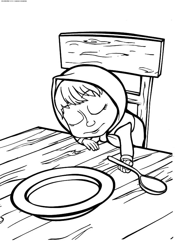 Masha And The Bear, Masha And The Bear Falling Asleep Coloring Pages: Masha and the Bear Falling Asleep Coloring Pages