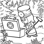 Masha And The Bear, Masha And The Bear First Aid Kit Coloring Pages: Masha and the Bear First Aid Kit Coloring Pages