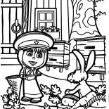 Masha And The Bear, Masha And The Bear Found The Naughty Rabbit Coloring Pages: Masha and the Bear Found the Naughty Rabbit Coloring Pages