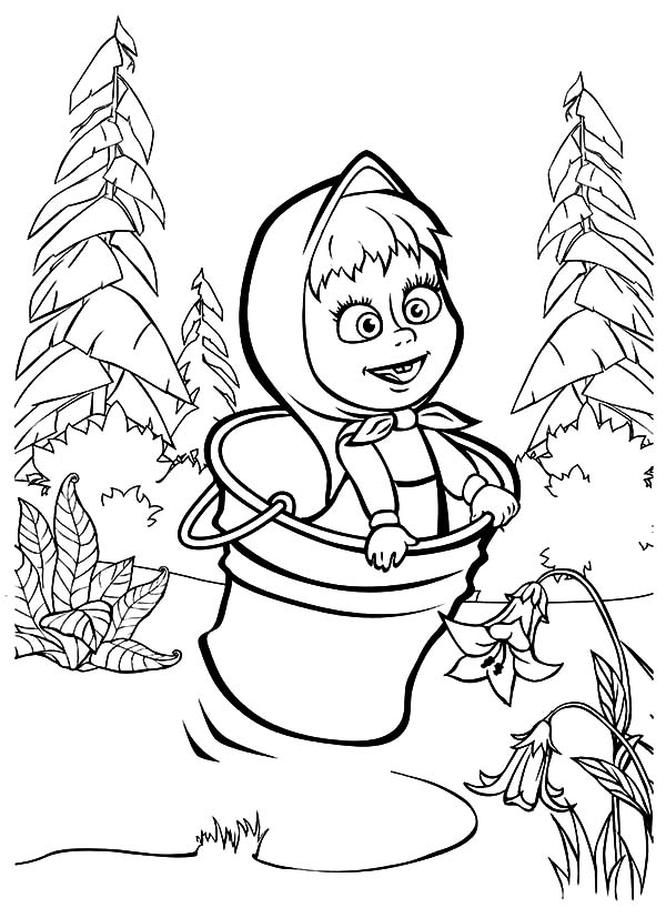 Masha And The Bear, Masha And The Bear Jumping On Bucket Coloring Pages: Masha and the Bear Jumping on Bucket Coloring Pages
