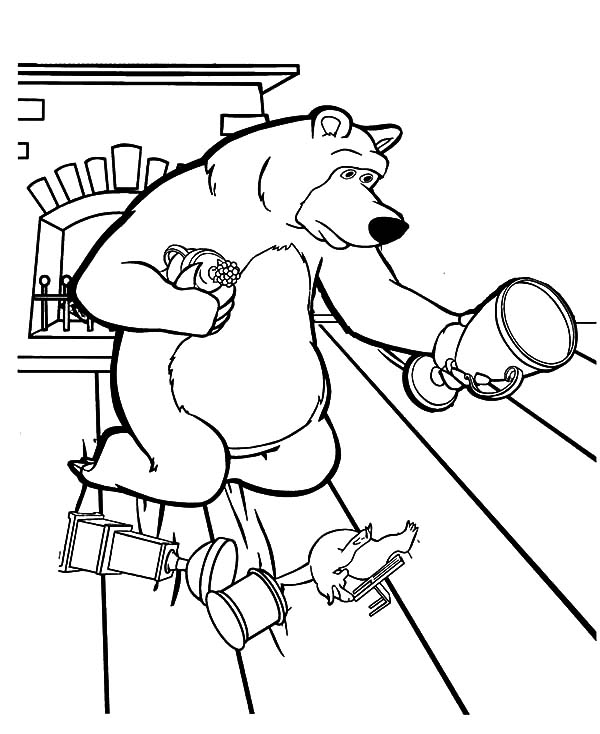 Masha And The Bear, : Masha and the Bear Picking Up His Trophy Coloring Pages