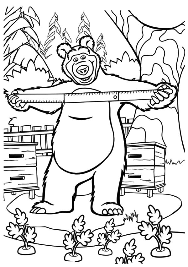 Masha And The Bear, : Masha and the Bear Planting Carrot Coloring Pages