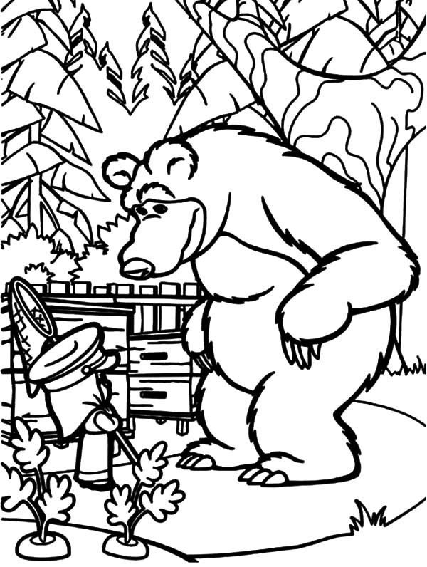 Masha And The Bear, : Masha and the Bear Put Masha on Duty to Watch His Carrot Garden Coloring Pages