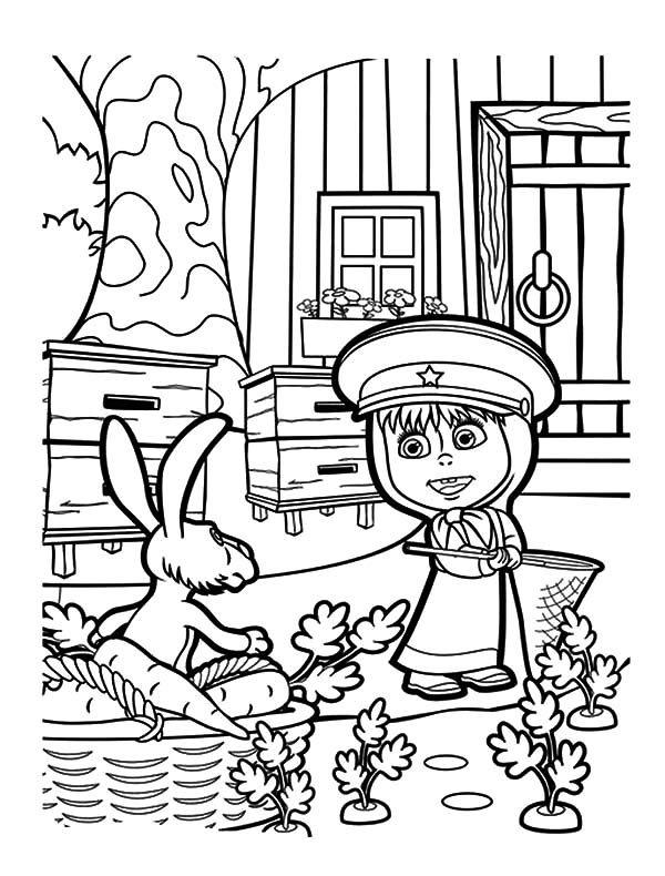 Masha And The Bear, : Masha and the Bear Rabbit Caught in the Act Coloring Pages
