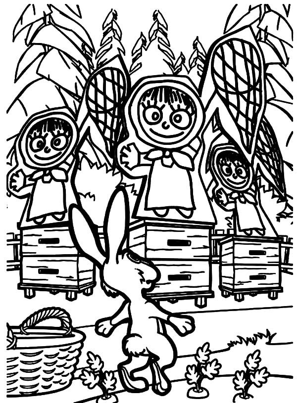 Masha And The Bear, : Masha and the Bear Rabbit Surprised to See Pictures of Masha Coloring Pages