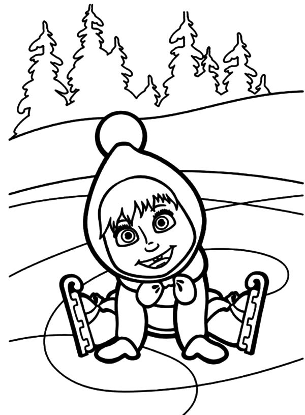 Masha And The Bear, : Masha and the Bear Smiles After Falling Down on Ice Coloring Pages