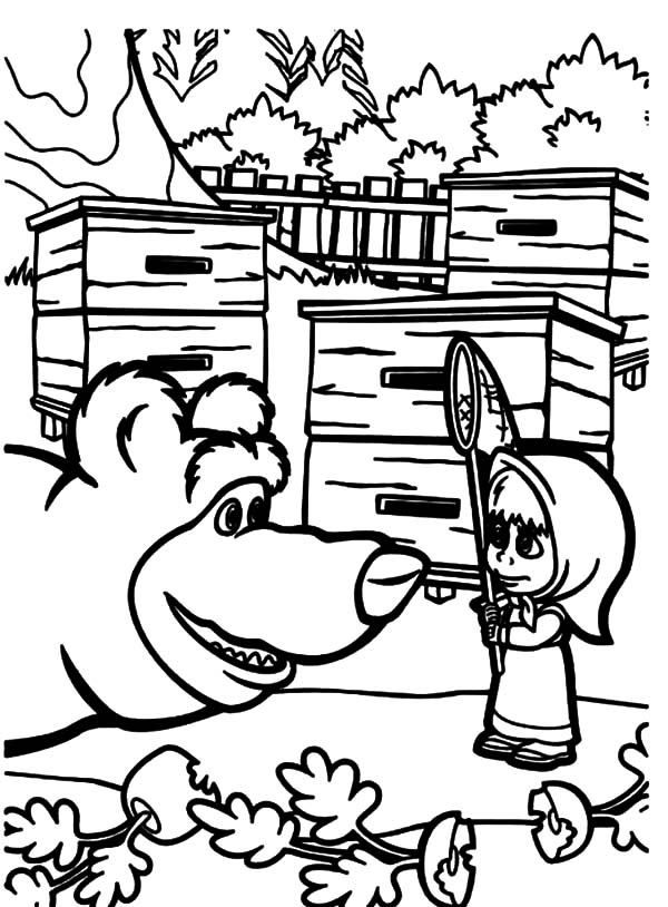 Masha And The Bear, : Masha and the Bear Talking to Masha Coloring Pages
