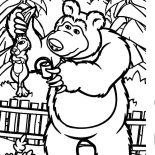 Masha And The Bear, Masha And The Bear Told Rabbit To Stay Away From His Garden Coloring Pages: Masha and the Bear Told Rabbit to Stay Away from His Garden Coloring Pages