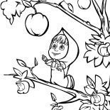 Masha And The Bear, Masha And The Bear Want To Pick Biggest Apple Coloring Pages: Masha and the Bear Want to Pick Biggest Apple Coloring Pages