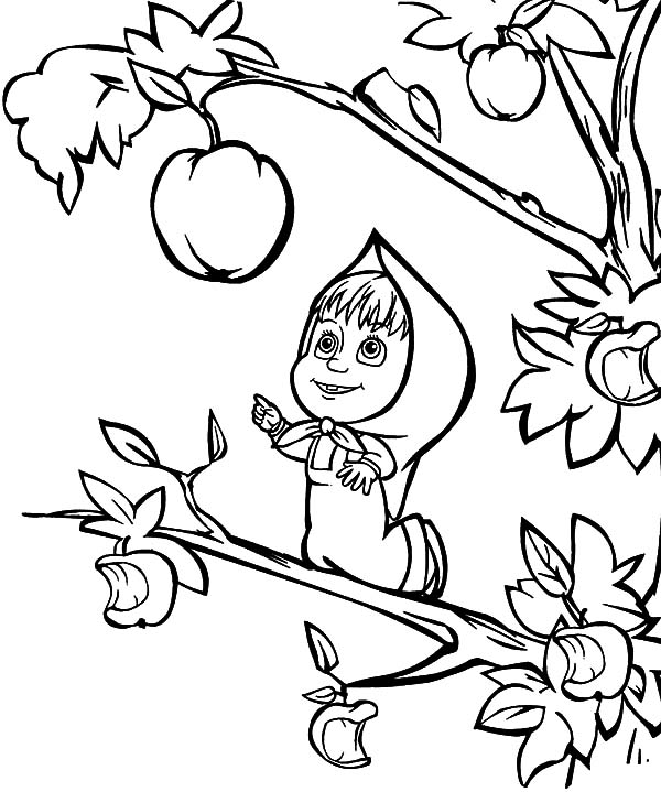 Masha And The Bear, : Masha and the Bear Want to Pick Biggest Apple Coloring Pages