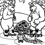 Masha And The Bear, Masha And The Bear And Bear Girlfriend Coloring Pages: Masha and the Bear and Bear Girlfriend Coloring Pages