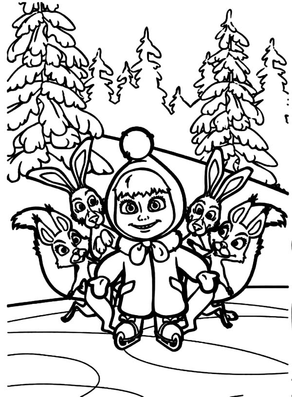 Masha And The Bear, : Masha and the Bear and Friends Coloring Pages