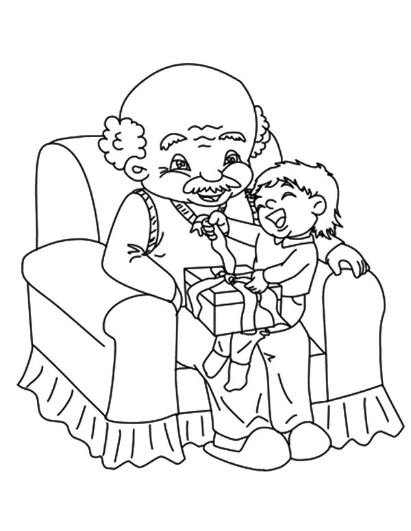 Grandfather, : Me Sitting with My Grandfather Coloring Pages