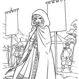 Merida, Merida Hide Herself Into A Cloak Coloring Pages: Merida Hide Herself into a Cloak Coloring Pages