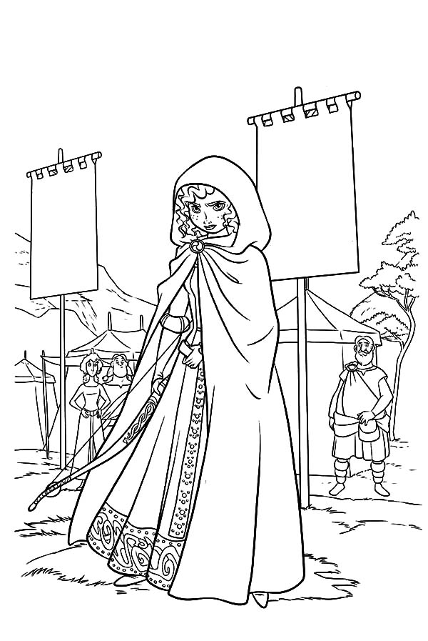 Merida, : Merida Hide Herself into a Cloak Coloring Pages