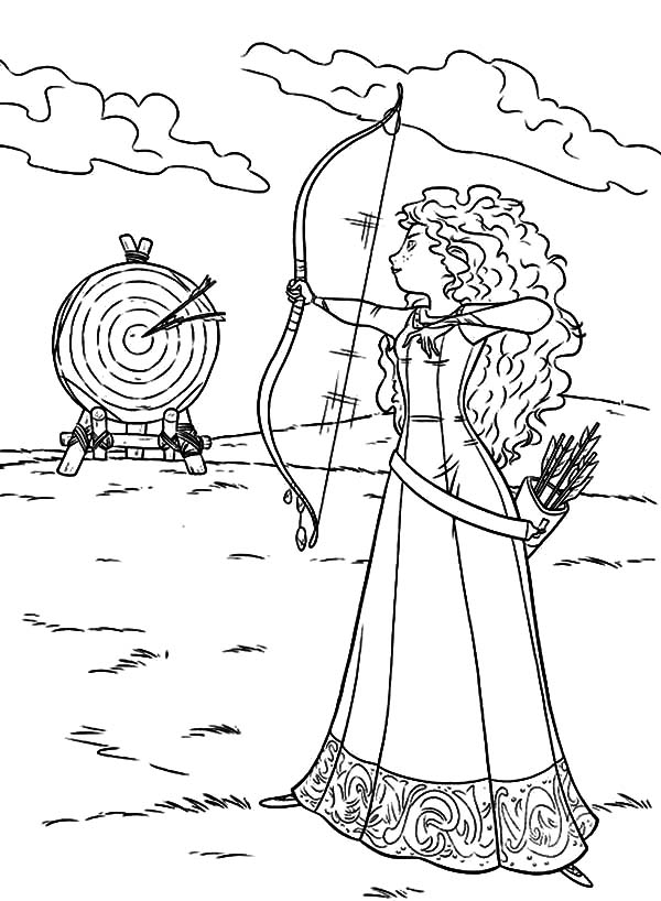 Merida, : Merida Hit Her Target Coloring Pages