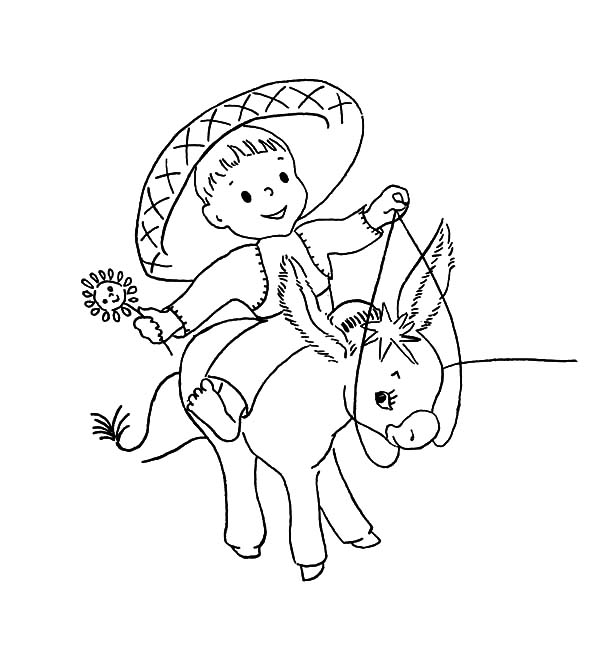 Mexican Donkey, : Mexican Baby Ride Mexican Donkey Coloring Pages