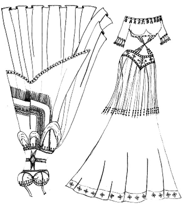 Mexican Dress, : Mexican Belly Dancer Dress Coloring Pages