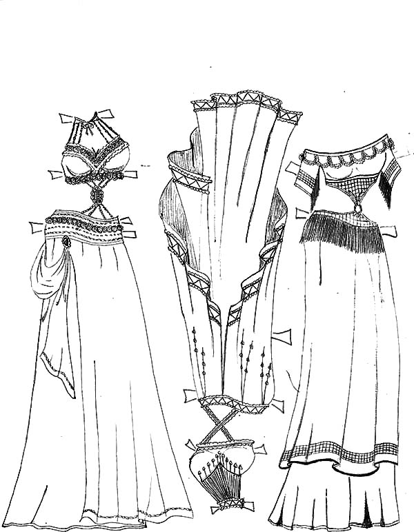 Mexican Dress, : Mexican Belly Dancer Dress Set Coloring Pages