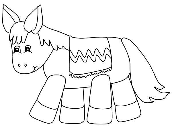 Mexican Donkey, : Mexican Donkey Pinata Coloring Pages