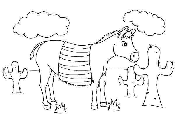 Mexican Donkey, : Mexican Donkey Stop Walking in Front of Cactus Coloring Pages