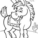 Mexican Donkey, Mexican Donkey On A Sunny Day Coloring Pages: Mexican Donkey on a Sunny Day Coloring Pages