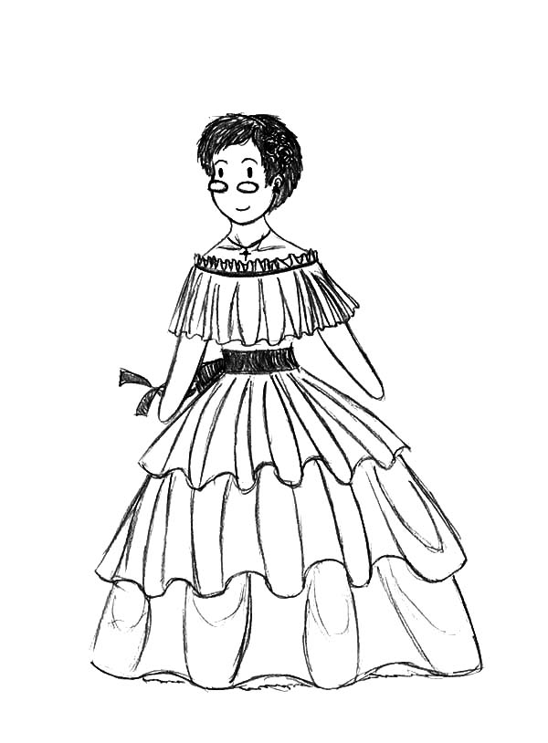 Mexican Dress, : Mexican Dress Coloring Pages for Kids