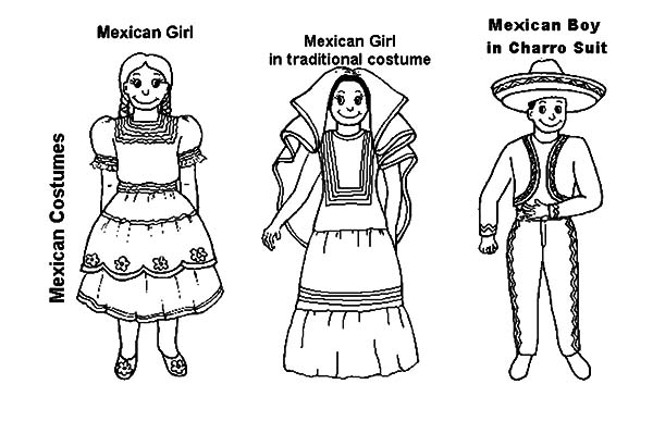 Mexican Dress, : Mexican Dress Coloring Pages