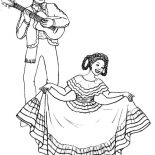 Mexican Dress, Mexican Dress Dancing Lady Coloring Pages: Mexican Dress Dancing Lady Coloring Pages