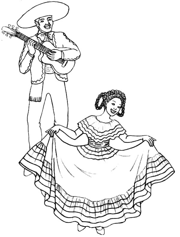 Mexican Dress, : Mexican Dress Dancing Lady Coloring Pages