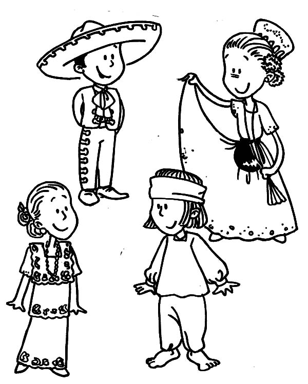 Mexican Dress, : Mexican Dress Parade Coloring Pages