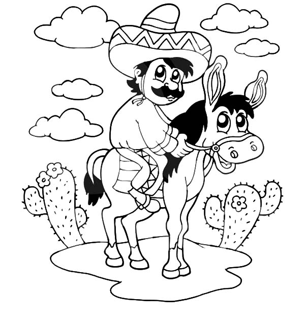 Mexican Donkey, : Mexican Man Sitting on a Donkey Coloring Pages