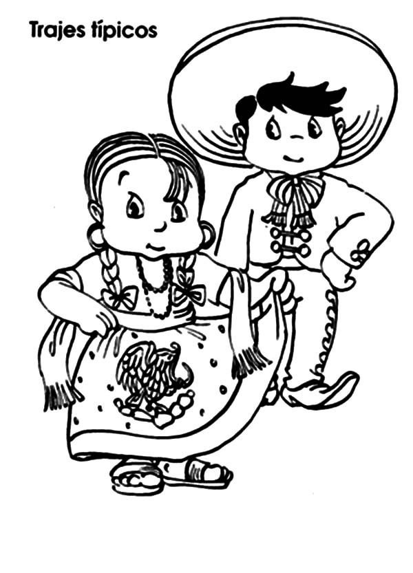 Mexican Dress, : Mexican Native in Mexican Dress Coloring Pages