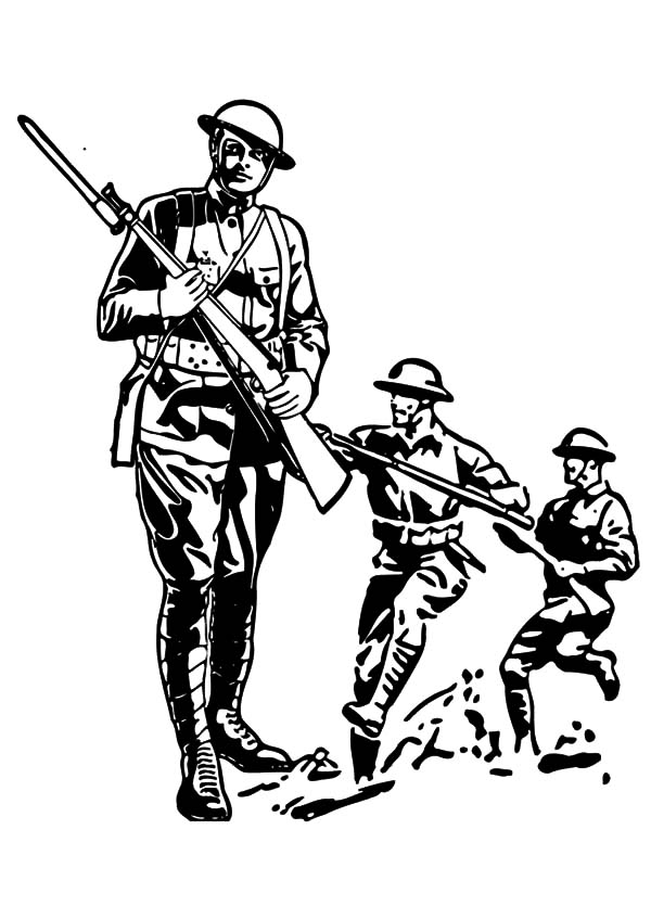 Military, Military Army Attack Coloring Pages: Military Army Attack Coloring Pages