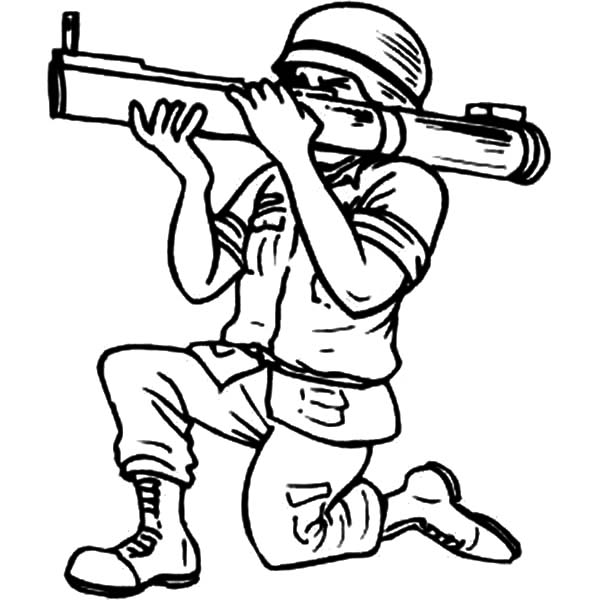 Military, : Military Bazooka Force Coloring Pages
