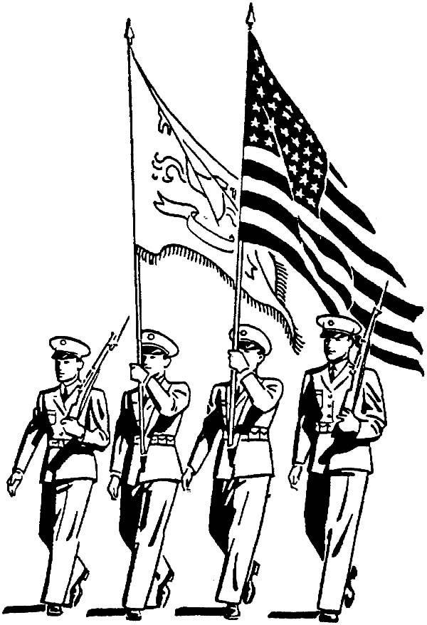 Military, : Military Bring Nation Flag Coloring Pages