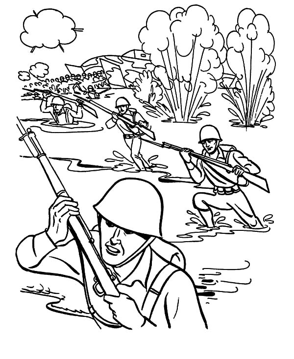 Military, : Military Drill in Mud Pool Coloring Pages