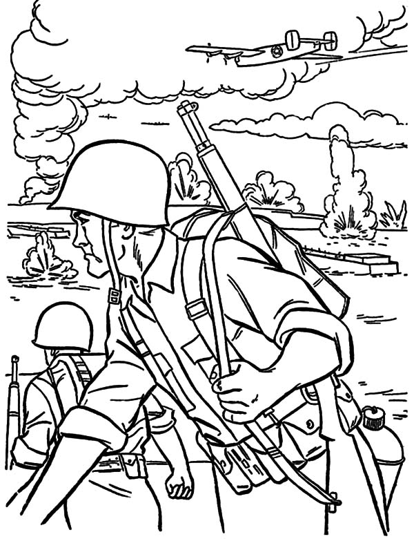 Military, : Military Forces on War Field Coloring Pages