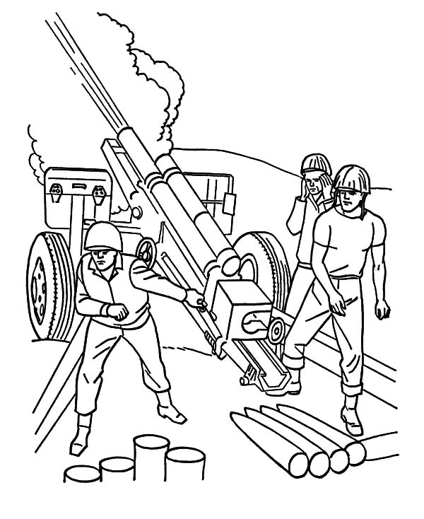 Military, : Military Heavy Artilery Coloring Pages