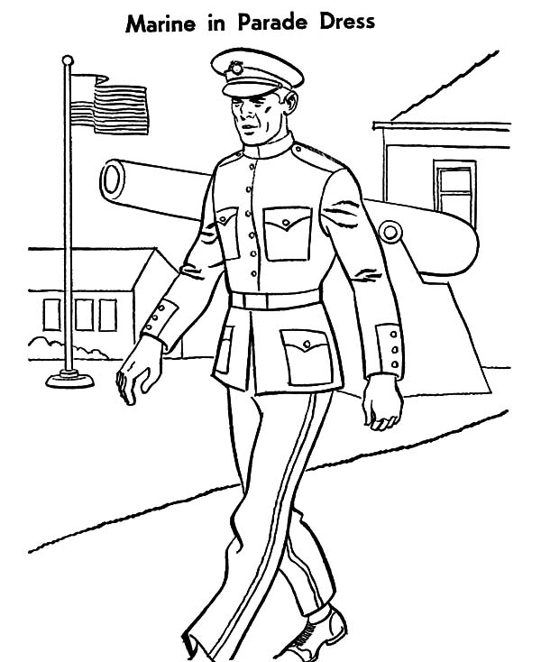Military, : Military Marine Parade Dress Coloring Pages