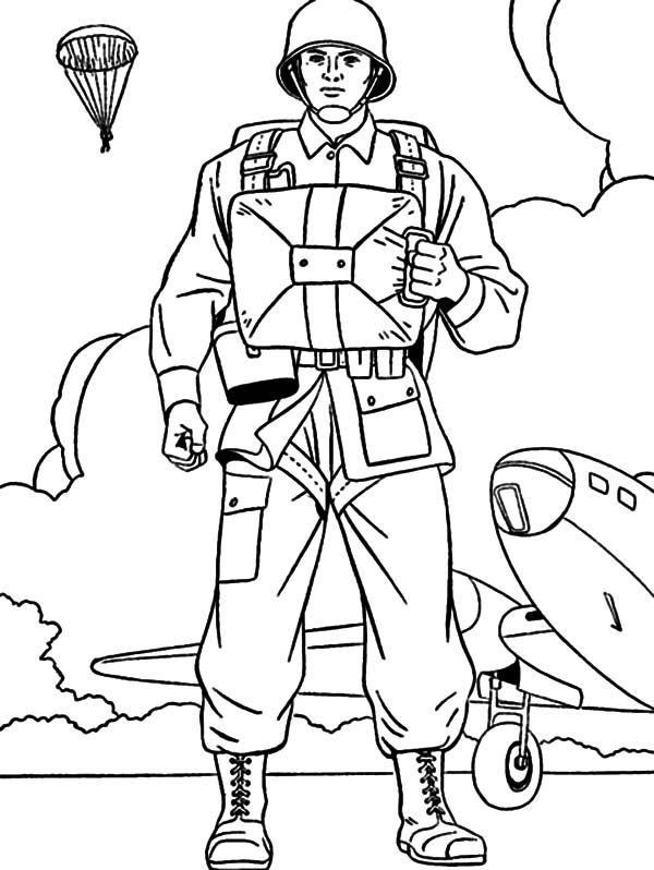 Military, Military Parachutist Coloring Pages: Military Parachutist Coloring Pages
