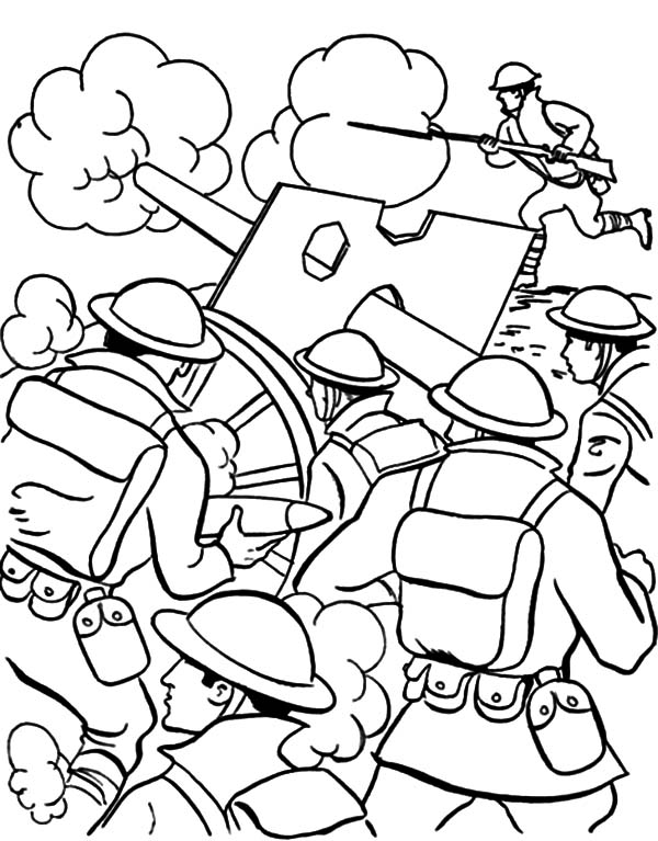 Military, Military Shooting From Distance Coloring Pages: Military Shooting from Distance Coloring Pages