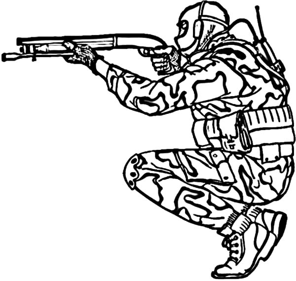 Military, : Military Shotgun Coloring Pages