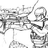 Military, Military Sniper Standing On His Spot Coloring Pages: Military Sniper Standing on His Spot Coloring Pages
