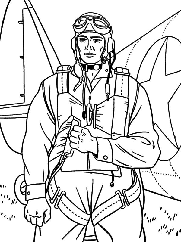 Military, : Military Soldier Bring Parachute Coloring Pages