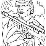 Military, Military Soldier Guerilla In The Jungle Coloring Pages: Military Soldier Guerilla in the Jungle Coloring Pages