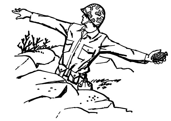 Military, : Military Soldier Throwing Granade Coloring Pages